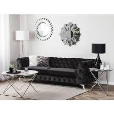 sofa schwarz samtstoff 3 sitzer chesterfield stil klassisch wohnzimmer