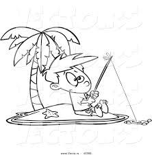Vector Of A Cartoon Boy Fishing By Himself On An Island