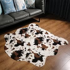 musthome nette kuh print teppiche und teppiche für wohnzimmer western cowboy decor faux kuh verstecken teppich für kinder zimmer 140x160 cm