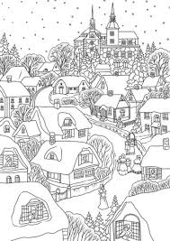 Click To See Printable Version Of Snowy Village On Christmas Eve Coloring Page