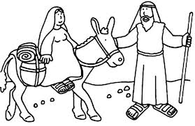 Joseph And Mary Bible Christmas Story Colouring Page