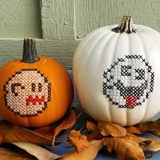 Motley Pumpkin Patch by Learn How To Cross Stitch On A Pumpkin Using Glow In The Dark Yarn
