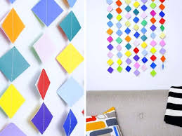 Colorful Garland Wall Art With Origami Paper Crafts For Home Decoration Step By Hanging Ideas To