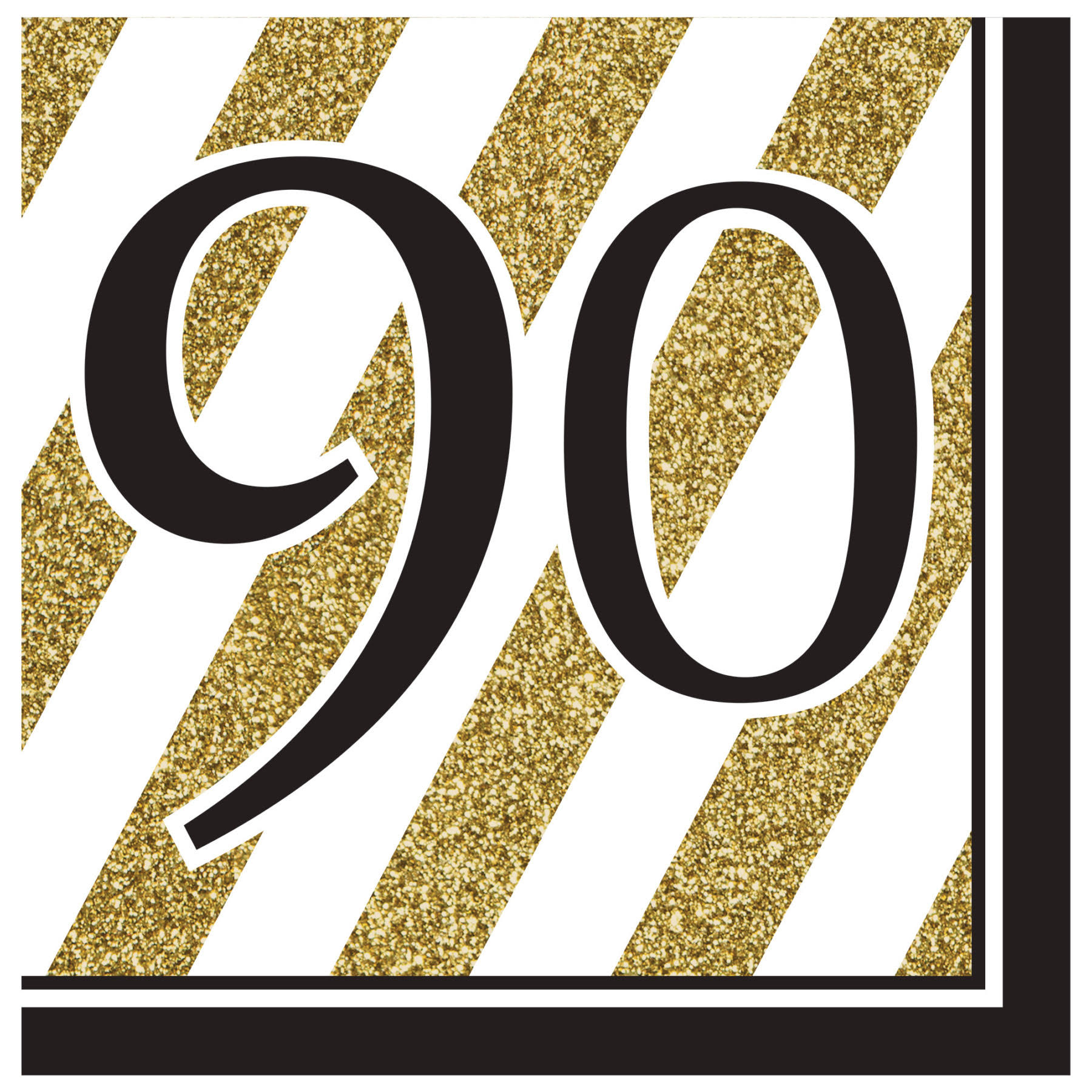 Creative Converting 90th Birthday Lunch Napkins - Black and Gold, 2 Ply, 16pk