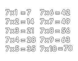 coloriage de la table de multiplication du 7 pour colorier