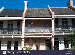 100 Sydney Terrace House Victorian Houses Paddington NSW Australia Stock Photo