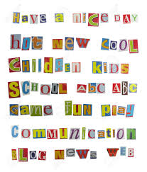 Cutout Words Collage Mixed Magazine Letters Stock Picture