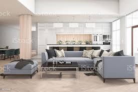 3d renderingreihe sofa im wohnzimmer in der nähe küchenbar und barhocker stockfoto und mehr bilder architektonische säule