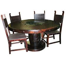 Magnificent Rustic Round Dining Table For 8 With Nailhead Trim