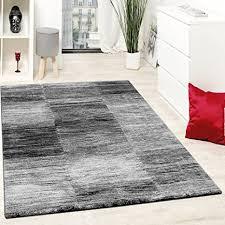 paco home designer teppich modern wohnzimmer teppiche kurzflor karo meliert grau schwarz grösse 60x100 cm