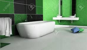 modernes badezimmer mit modernem design und möbel in grün schwarz und weiß 3d rendering gefärbt