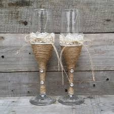Rustic Wedding Toasting Glasses With Twine And Lace Champagne Flutes Bride Groom