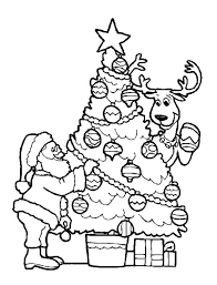 Santa Claus Decorating Christmas Tree With The Reindeer On Coloring Page