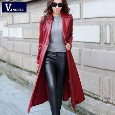 long leather coat female 2016 autumn women u0027s high grade pu leather