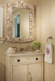 Beach Bathroom Decor Ideas With Beige Wall Color And Seashell