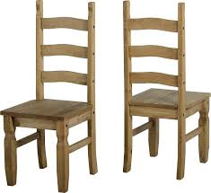 Genuine Corona 3 Bar Back Mexican Dining Chairs In Distressed Antique Pine Choose How Many Pairs You Need