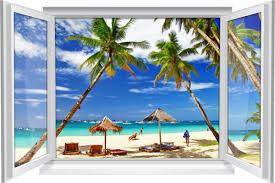 wandtattoo wandbild fenster meer strand palmen urlaub reisen wohnzimmer deko