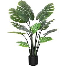 crosofmi artificial monstera deliciosa plant 47 inch tropical palm tree faux swiss cheese plants in pot for indoor outdoor house home