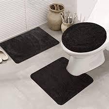 ele eleoption badezimmer set rutschfeste badematte schnelltrocknend weich wasserabsorbierend stilvoll wc garnitur 3 teilig polypropylen schwarz 50 x