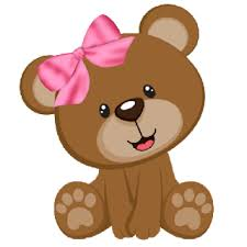 Cute Baby Brown Bear With Pink Bow