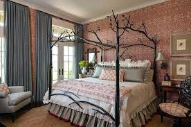 Urban Style Bedroom Furniture View In Gallery Farmhouse With Custom Bed And Striking Wallpaper