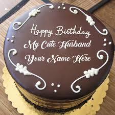 Husband Name Print Beautiful Chocolate Birthday Cake Pics