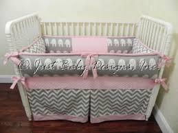 Baby Bedding Crib Set Daphne Gray Elephants & Chevron with Pink
