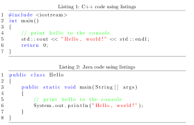 LaTeX Document With Java And C Code Syntax Highlighting