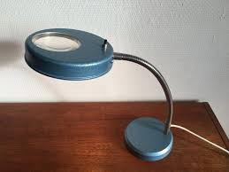 Vintage Industrial Desk Lamp with Magnifying Glass 1950s for sale