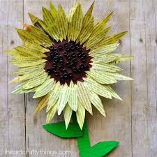 Painted Newspaper Sunflower Craft
