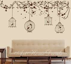 nature wall decal birds wall decal branch wall sticker bird cage