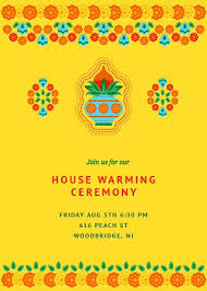 Housewarming Traditional Yellow Invitation