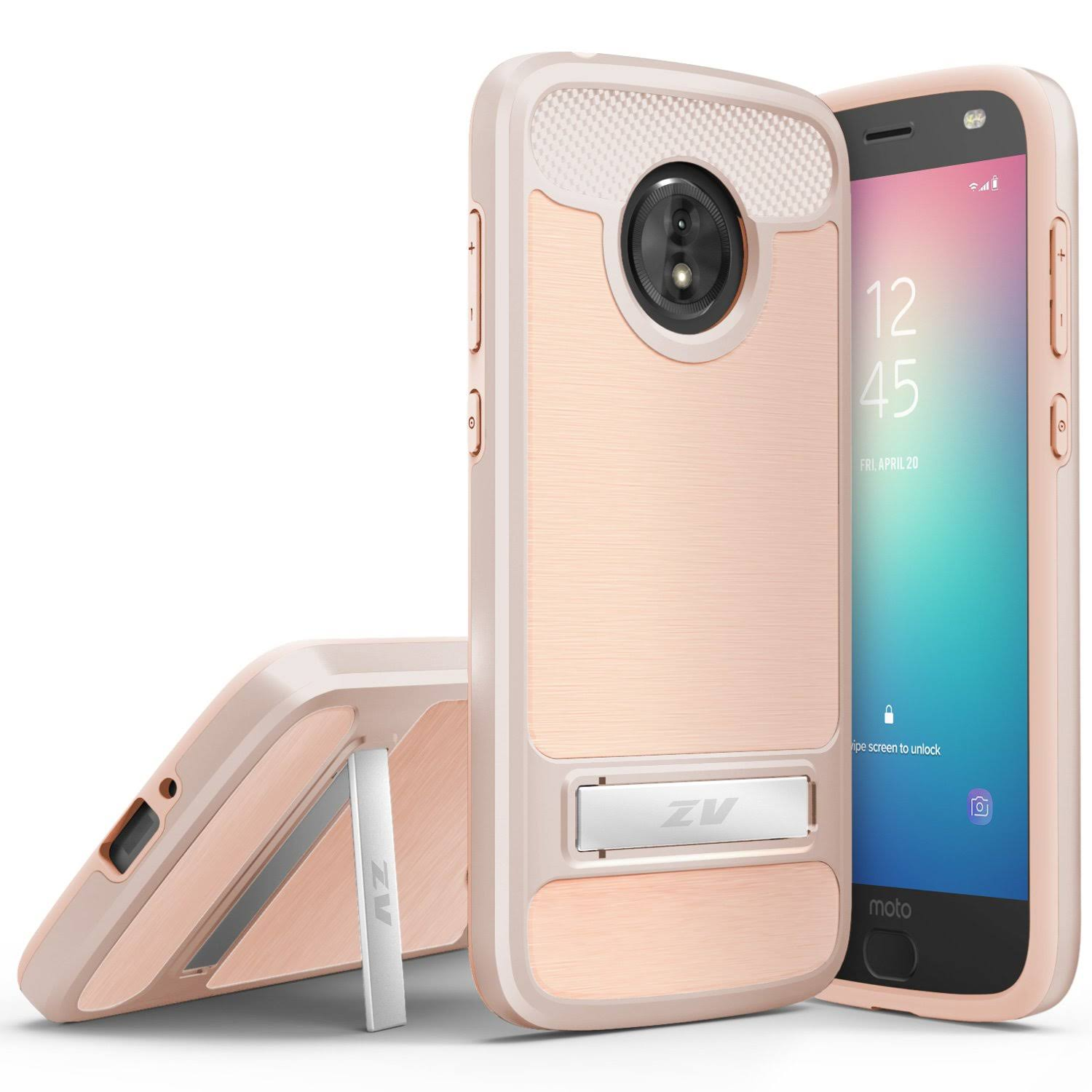 ZV Moto E5 Cruise PC Plus SC Hybrid Case - Lightweight, Dual Layered with Built in Kickstand, Rose Gold
