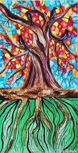LARGE Abstract Tree Art Decor Wall Cosmicmixed Media Textured Of Lifebranchesrain Roots Rain Drops Raining Space