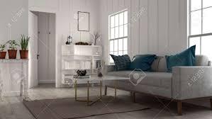 kleines gemütliches wohnzimmer mit großem sofa bücherregal couchtisch und topfpflanzen beleuchtet zwei hellen fenstern in einem niedrigen