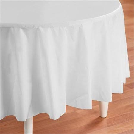 Touch Of Color Round Round Plastic Table Cover - White