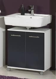 waschbeckenunterschrank weiß mit türen in anthrazit auf rollen 60x64x33 cm bxhxt