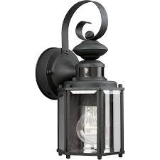 black motion sensor outdoor wall lantern
