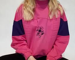 Vintage Pink And Purple Oversize Sweatshirt 90s Tumblr Clothing Grunge Style