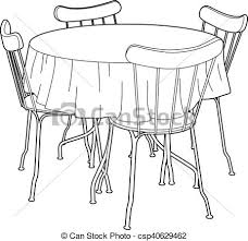 Drawing Of A Kitchen Table Vector