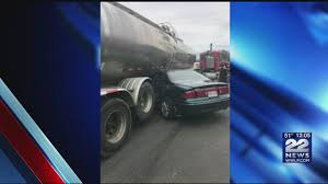 Tanker Truck Crushes Car In West Springfield Accident