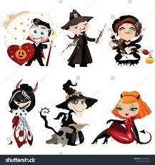 Characters For Halloween by Set Six Cartoon Characters On Halloween Stock Vector 326498360