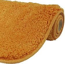 diluma wc vorleger ohne ausschnitt 50x50 cm orange badteppich flauschiger hochflor weich rutschfest saugstark