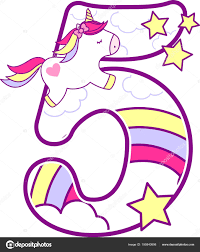 Number Cute Unicorn Rainbow Can Used Baby Birth Announcements Nursery Stock Vector