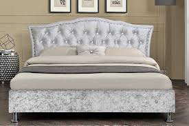 Velvet Headboard King Size by Georgio Crushed Silver Fabric Bed Diamante Headboard Double King