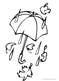 Umbrella In The Rain Autumn Fall Color Page Holiday Coloring Pages Plate