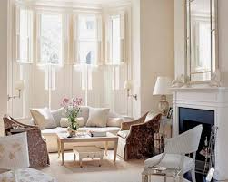 White Living Room Window Treatment Idea Featured Awesome Wooden Plantation Shutter And Rustic Slipcover Sofa With