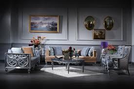 casa padrino luxus barock wohnzimmer set blau beige silber 2 sofas 2 sessel couchtisch barock wohnzimmermöbel