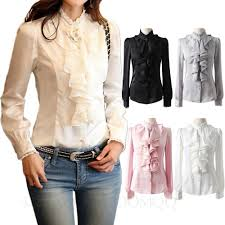 vintage silky ladies blouse long sleeve top lace collar ruffle