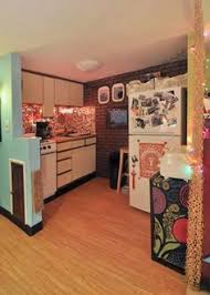 Laura Lees Bright Playful Basement Studio Apartment DecorApartment IdeasCute DecorStudio KitchenApartment DoorCollege